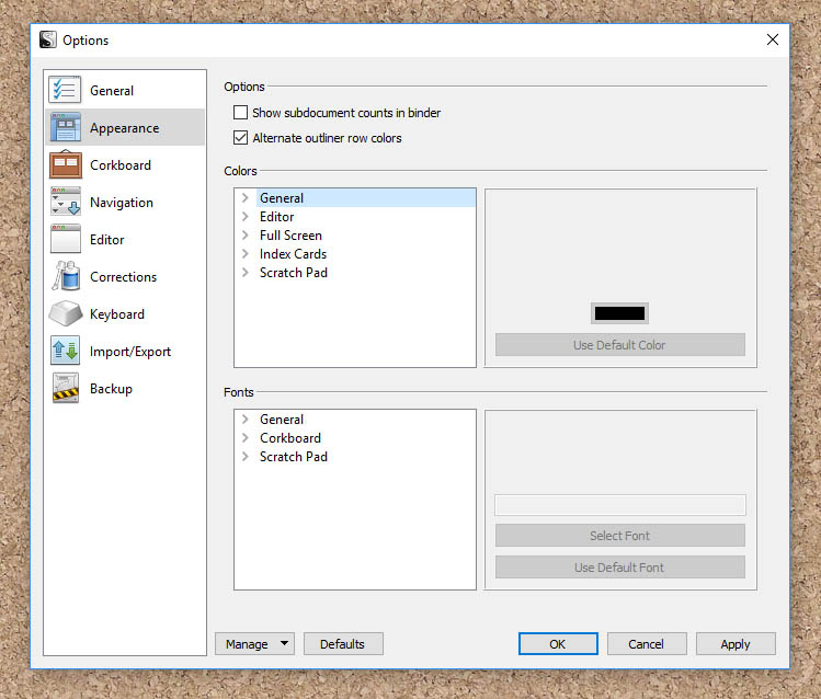 A screenshot of Scrivener's customisation window.
