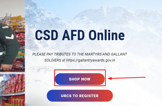 Online portal for AFD items - afd.csdindia.gov.in registration and login process.