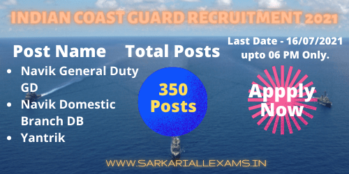 Read more about the article Indian Coast Guard Recruitment 2021 apply Online