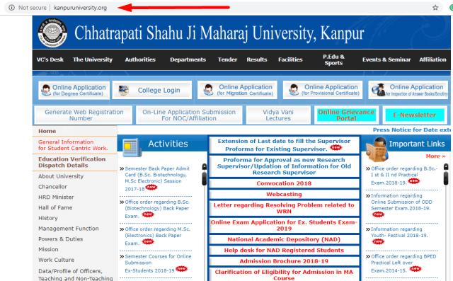 kanpur university website homepage