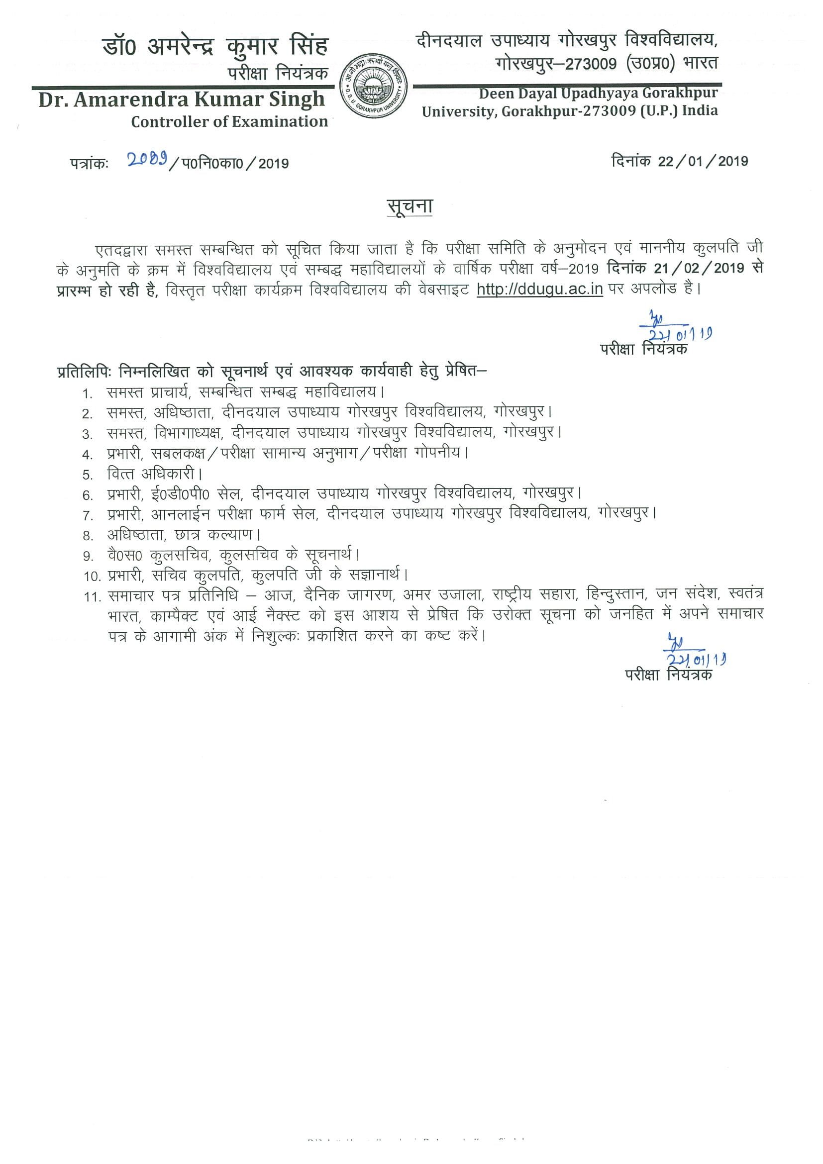 DDUGU Annual Exam Scheme