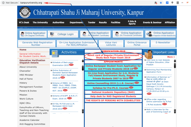 website of csjm kanpur university