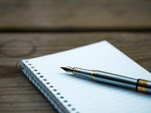 fountain pen, note, notebook