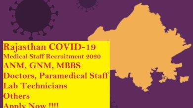 Rajasthan COVID-19 Vacancy 2020