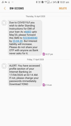 sbi sms forward emi defer fraud