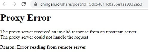 chingari website error