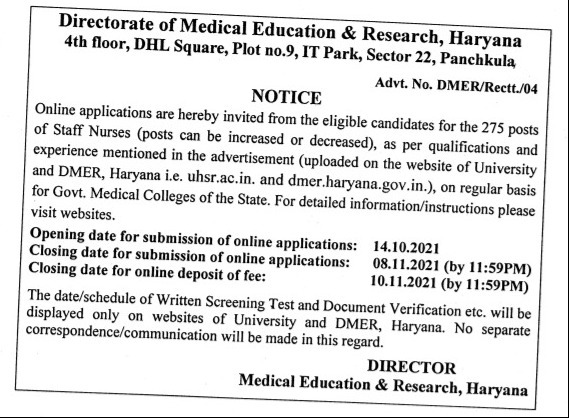 PGI Rohtak Staff Nurse Vacancy 2021