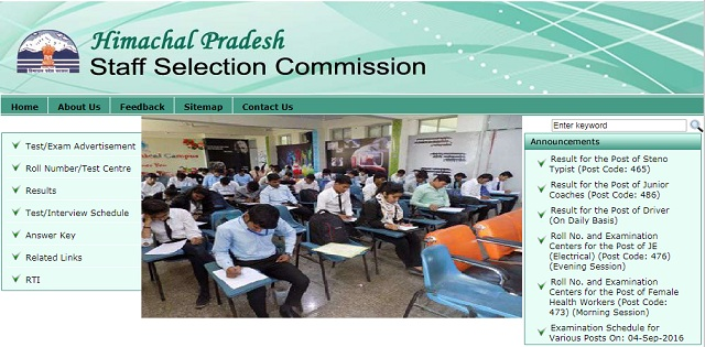 Himachal Pradesh Staff Selection Commission Hamirpur Jobs : 1080 Posts for TGT, Clerk, DEO, Steno and Other Posts