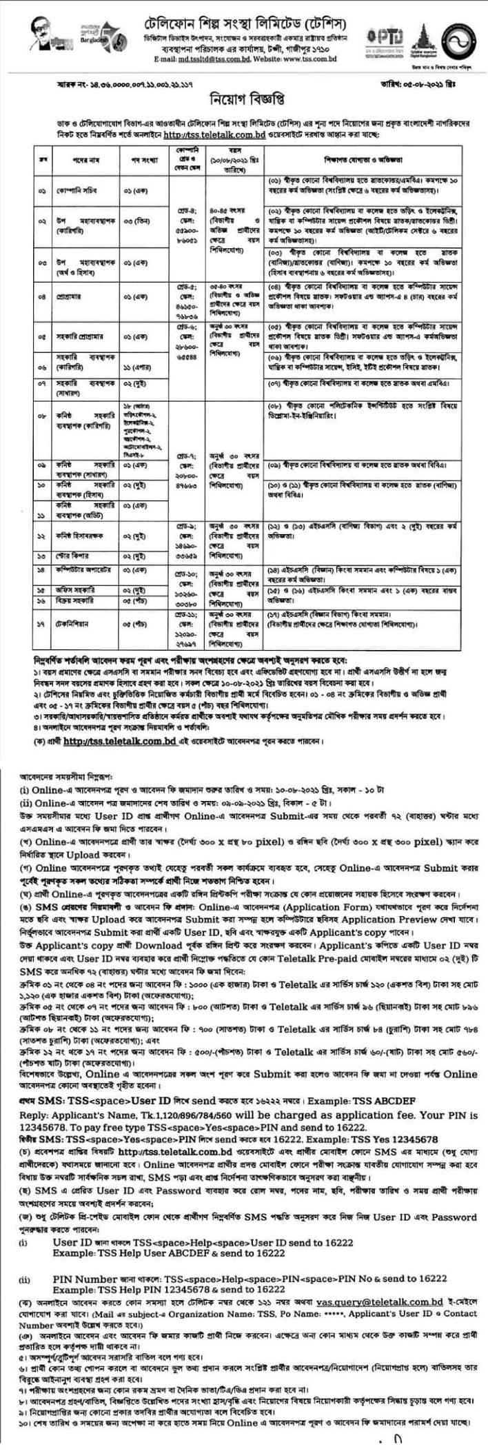 Telephone Shilpa Sangstha Job circular