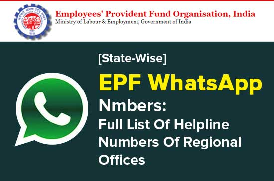 EPF-WhatsApp-Numbers-Full-List-Of-Helpline-Numbers-Of-Regional-Offices
