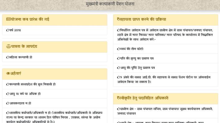 एमपी सीएम कल्याणी पेंशन योजना विवरण