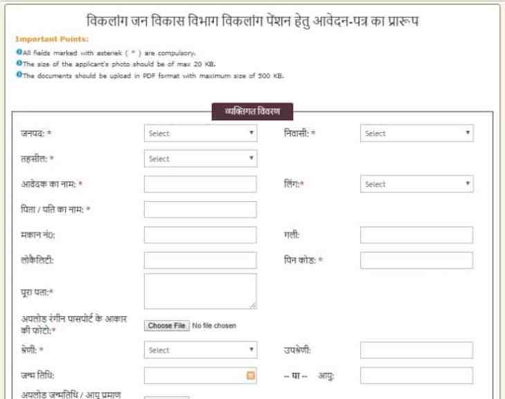 Physically Handicapped Pension Application Form