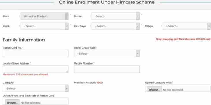 Him Care Yojna Apply Online Form HP
