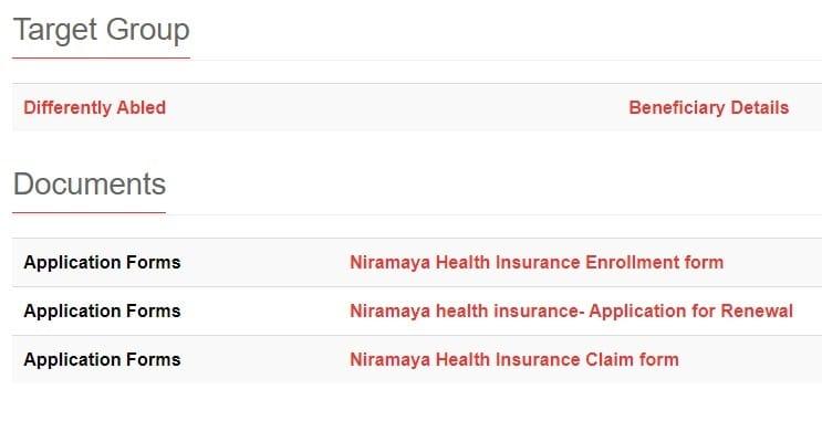 Niramaya Health Insurance Scheme Application Forms Link