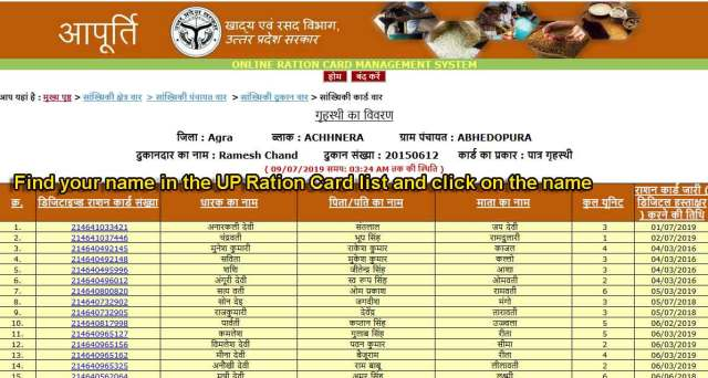 Find your name in the UP Ration Card list and click on the name