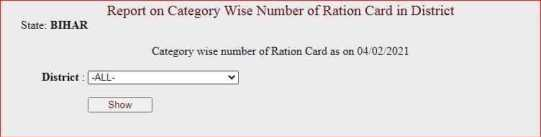 district wise ration card list