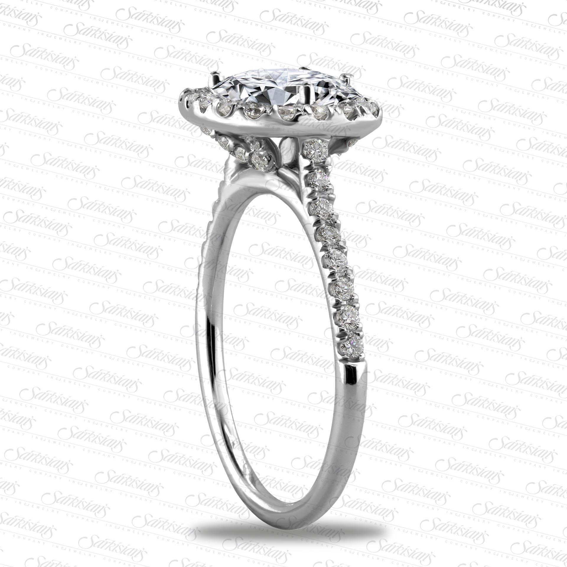 Cushion Halo Diamond Engagement Ring Gold Or Platinum