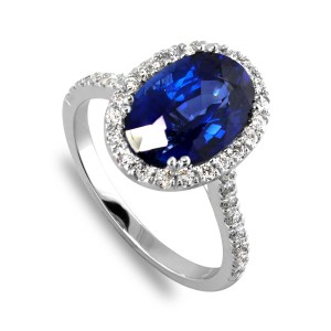 Oval Sapphire Ring ENgagemnt side diamonds-65466