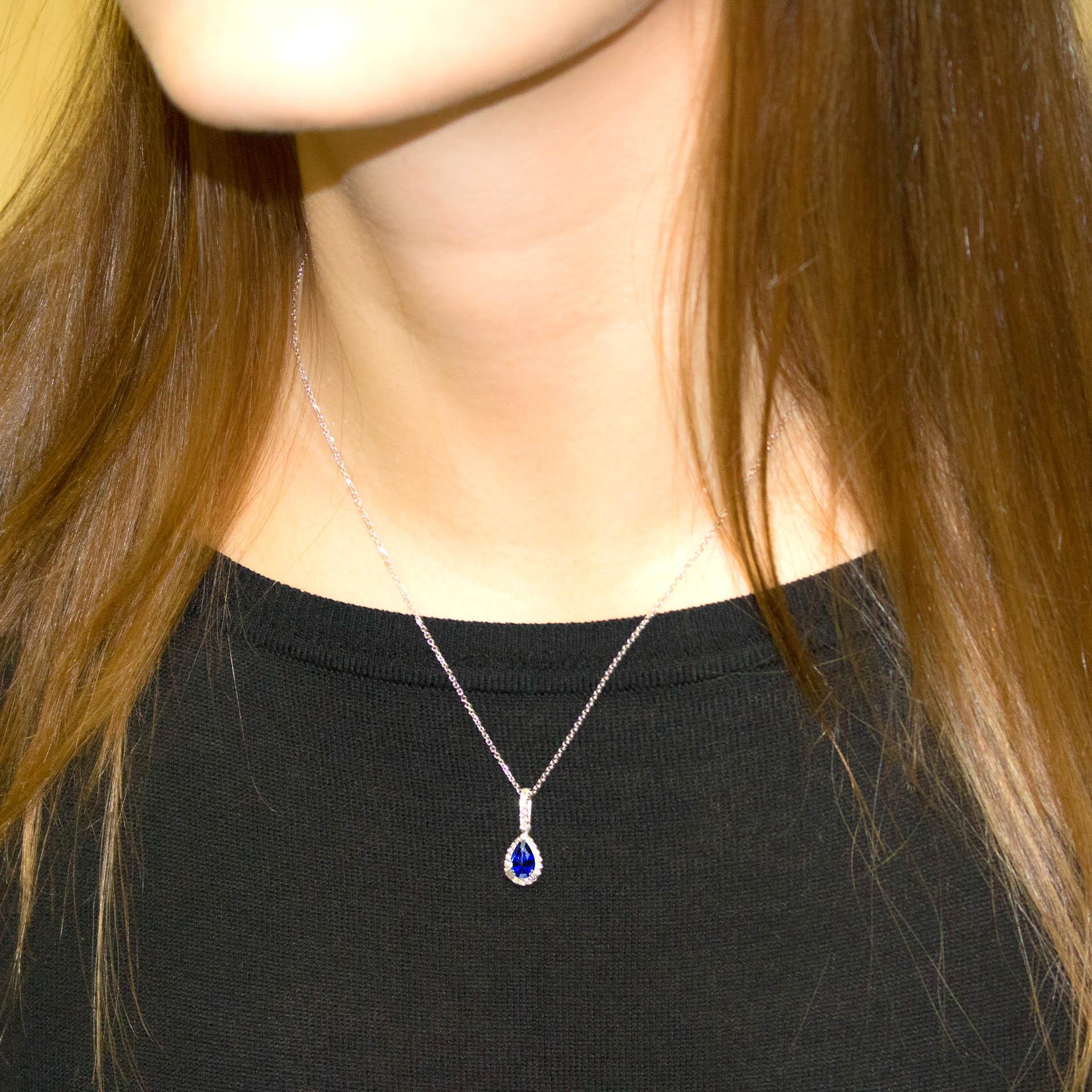 8228c65bf6910 1.0 Carat Pear Shape Genuine Blue Sapphire & Diamond Halo Necklace ...
