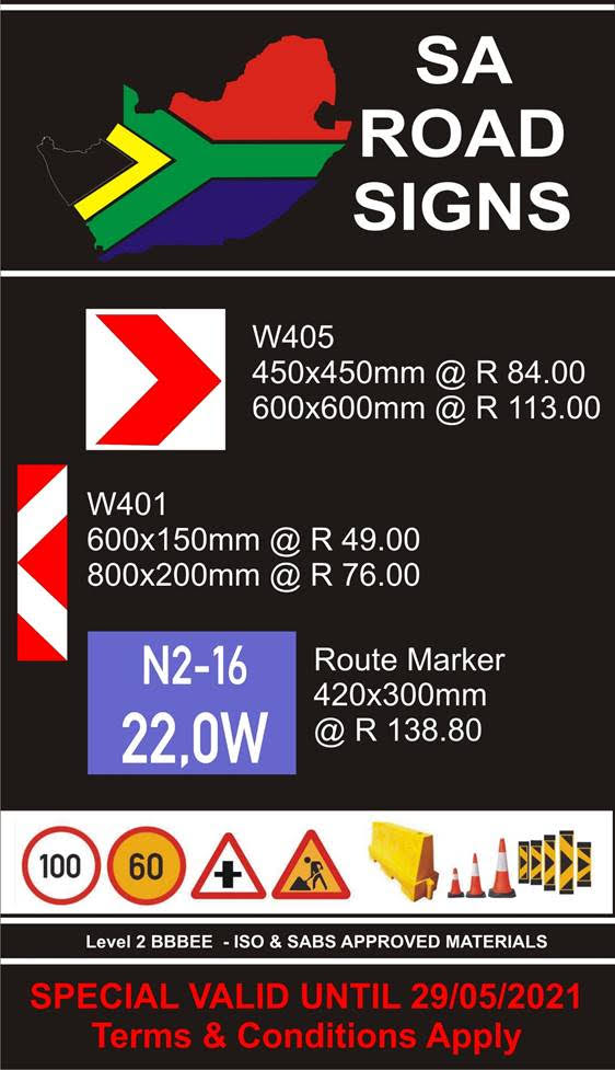 Current Specials on Route markers and more. Valid till 29 May 2021