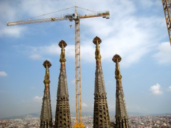 Many cranes at a great height