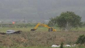 チュウヒの繁殖地近くで排水路工事