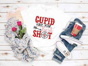 cupid take your best shot vinyl shirt by sarrie creatives