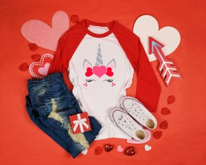 Valentine's Unicorn Children's Shirt by Sarrie Creatives