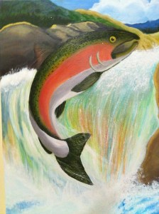 Painting of salmon leaping
