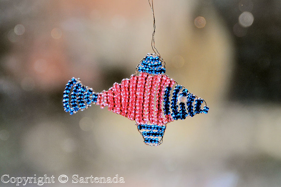 Fish made from beads by my wife. Actual lenght 5 cm / 2 inches