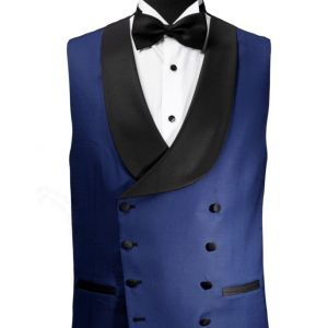 Blue double breasted vest Dormeuil Exel