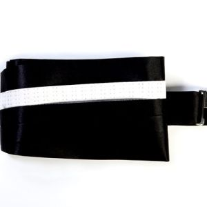 Black and white silk cummerbund