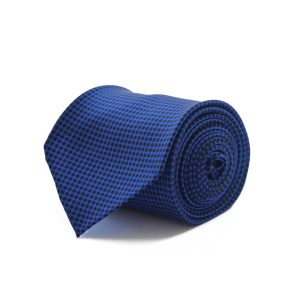 Handmade 3fold blue with black dots silk tie