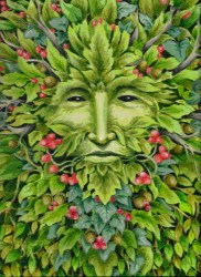 Green Man image with holly