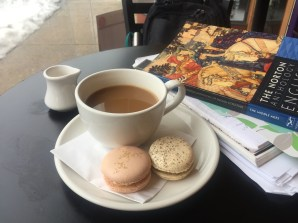 Norton Anthology of English Literature, macaroons, and coffee