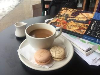 Norton Anthology of English Literature, macaroons, and coffee