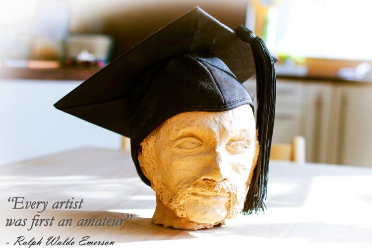 Graduation cap on tape head by Joachim Schlosser