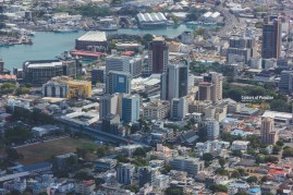 The capital city of Mauritius, seen from the mountains.