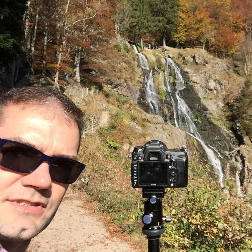 Sunny day in the at Todtnau waterfalls