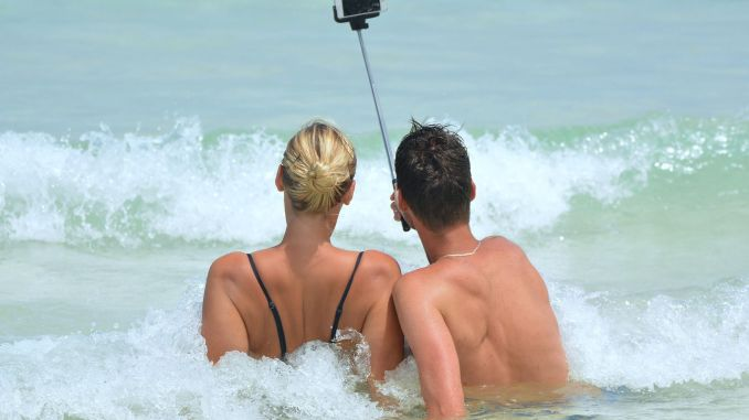With the smartphone in the water: This works best with an underwater housing.