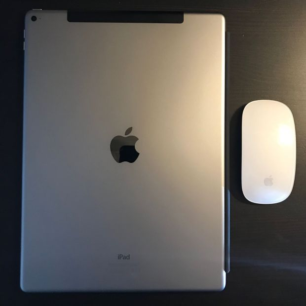 Pretty big: The iPad Pro in size comparison with the Magic Mouse. Photo: Sascha Tegtmeyer
