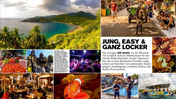Great, colorful reportage in DIVING 11 / 2015: I visited the Gili Islands between Bali and Lombok.