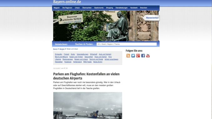 Articles on the subject of cost traps for holiday travel on the web portal bayern-online.de.
