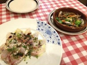 カルパッチョとオイルサーディンのグリル