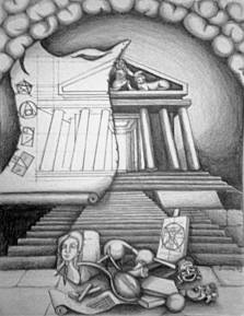 Temple of the Arts. Pencil on Paper 2013. Private Collection.