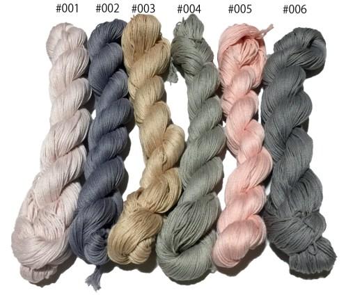 2015年1月分の草木染め刺し子糸です(#001-#006) Natural Vege Dyed Thread