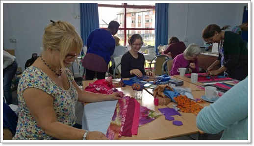 """Here are our patchwork experts Amanda, Freda, Mary and Faith, making learning look easy!!"""