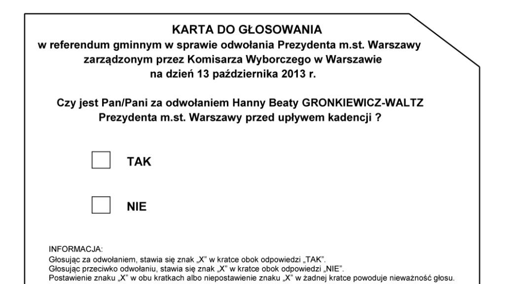 2013-10-13: A już dziś – REFERENDUM Warszawskie