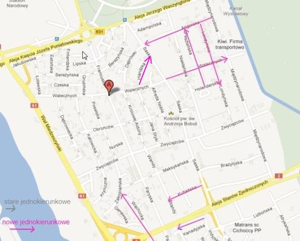 2014-11-26: zmiany organizacji ruchu na Kępie – jednokierunkowe, zakazy parkowania