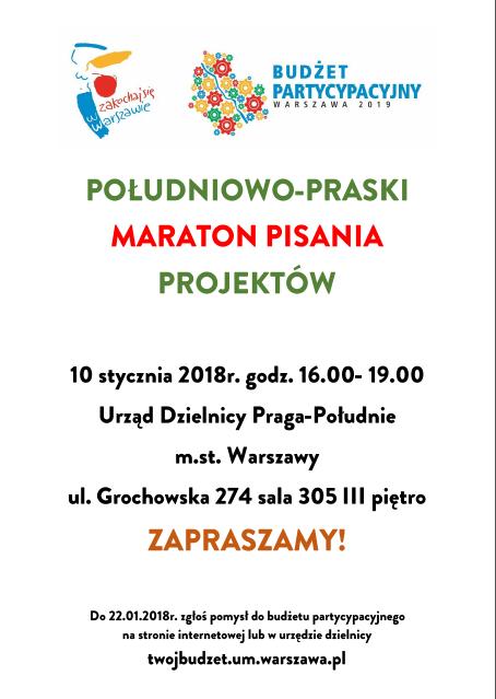 2018-01-10: południowo-praski maraton pisania projektów do budżetu partycypacyjnego!